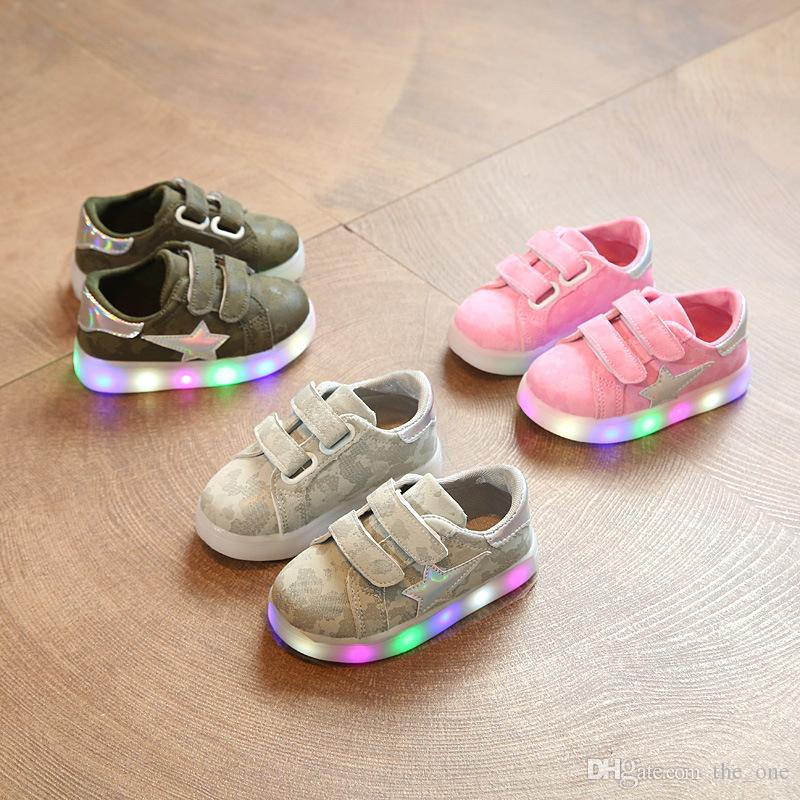 LED Colorful Lighting Camouflage Children Sneakers Glowing Shinning Baby Kids  Shoes Cute Patch Girls Boys Shoes Cute Kid Shoes Size 4 Kids Shoes From ... a2e33285c