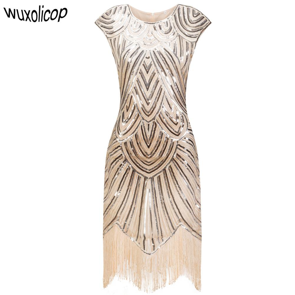 aee2e5853ea76 2019 Vintage 1920s Flapper Great Gatsby Dress O Neck Cap Sleeve Sequin  Fringe Party Midi Dress 2017 Summer Women Vestido De Festa From  Fenghuangmu