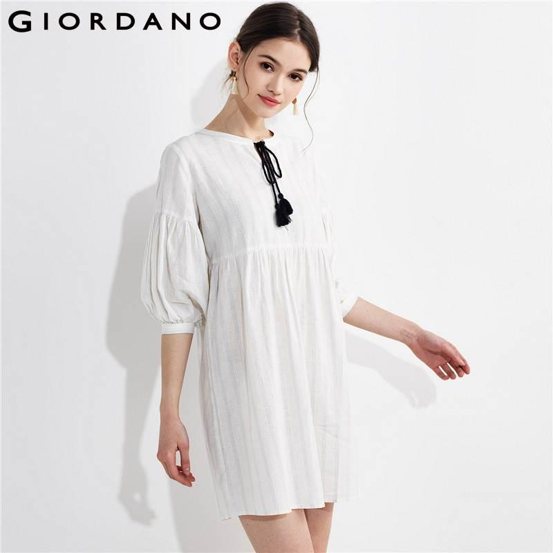 Acheter Giordano Femmes Robe Chemisier Cordon Puff Manches Qualité Lin  Coton Robe Blusa Feminina Printemps Automne Nouvelle Vestidos De  63.83 Du  Hognyeni ... 3c9f42135a2d