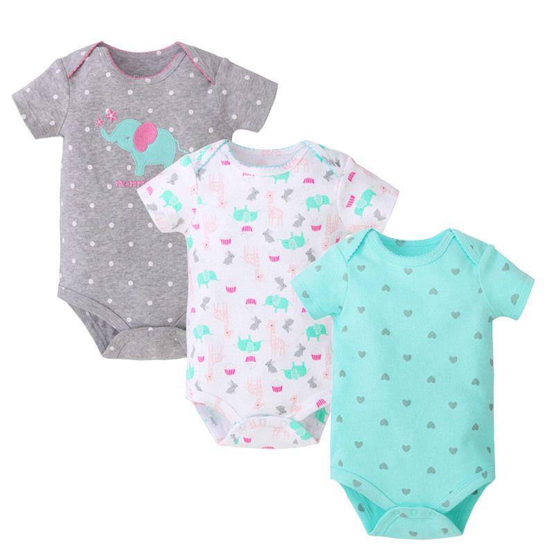 c0ba6576a57e 2019 2018 Summer Baby Rompers 3 Packs Cotton Infant Jumpsuit Newborn ...