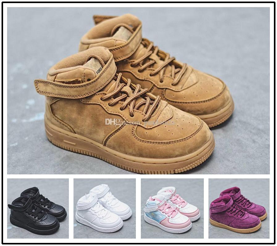 buy popular cf73a abfff Acheter Nike Air Force 1 Af1 2018 Baby Kids Classic AF Sneakers Baskets  Garçons Filles Air High Low Cut Purple One 1 Dunk Chaussures Sport  Skateboard ...