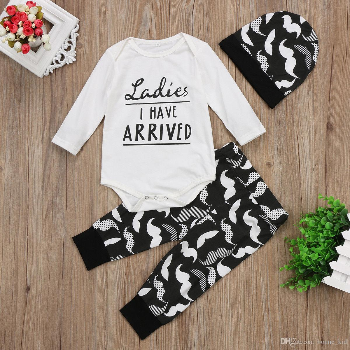 998f7d7d1 Newborn infant baby boys clothes kids clothing romper+pants+hat three-piece set  outfits moustache letter printed onesies boutique toddler