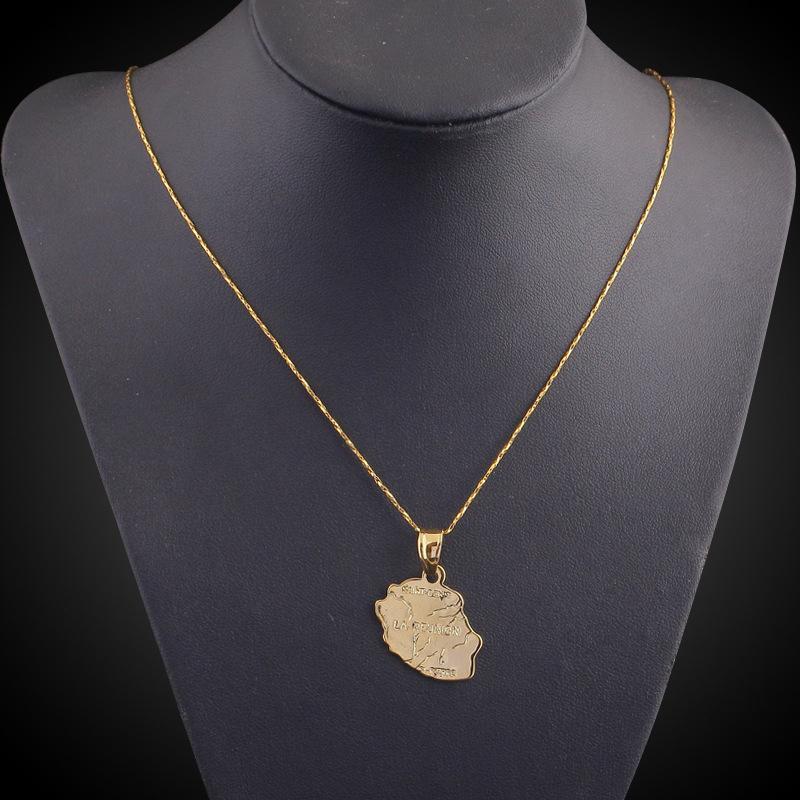 l Ile de la Reunion Mapa Cobre Latón encantos Declaración de oro 18K plateado pendiente collar que hace colgantes regalo de la promoción especial de joyería