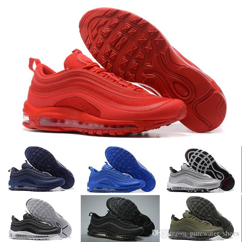 more photos 8cb56 d8737 Acheter Nike Air Max 97 Sports Shoes Avec La Boîte 97 Hommes Chaussures  Triple Blanc Noir Rose Chaussures Hommes Og Metallic Gold Silver Bullet  Formateurs ...