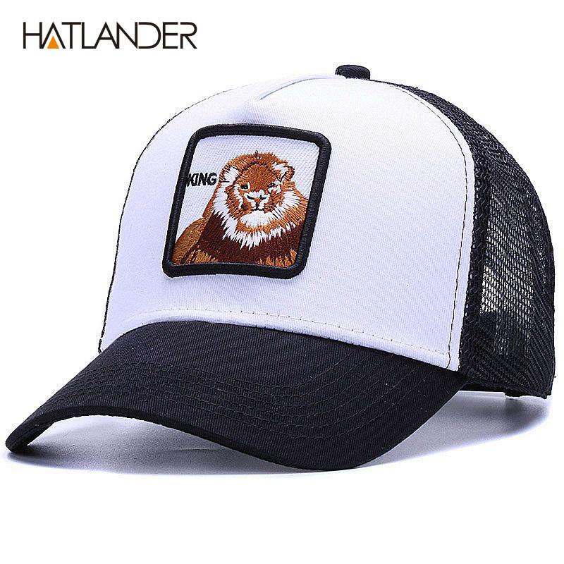 HATLANDEREmbroidery Lion Mesh Baseball Caps Women Snapback Hat Summer Messy  Bun Sun Hats Casual Outdoor Sports Cap Mens Visor Cool Hats Lids Hats From  ... 6c6d409a652