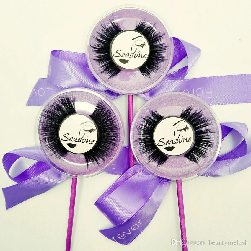 Venda quente 10 Pares / Caixa de Maquiagem Artesanal de Moda Cosméticos 3D Mink Falso Lollipop Cílios Cruz Natural Falso Cílios Perfeitos Frete Grátis