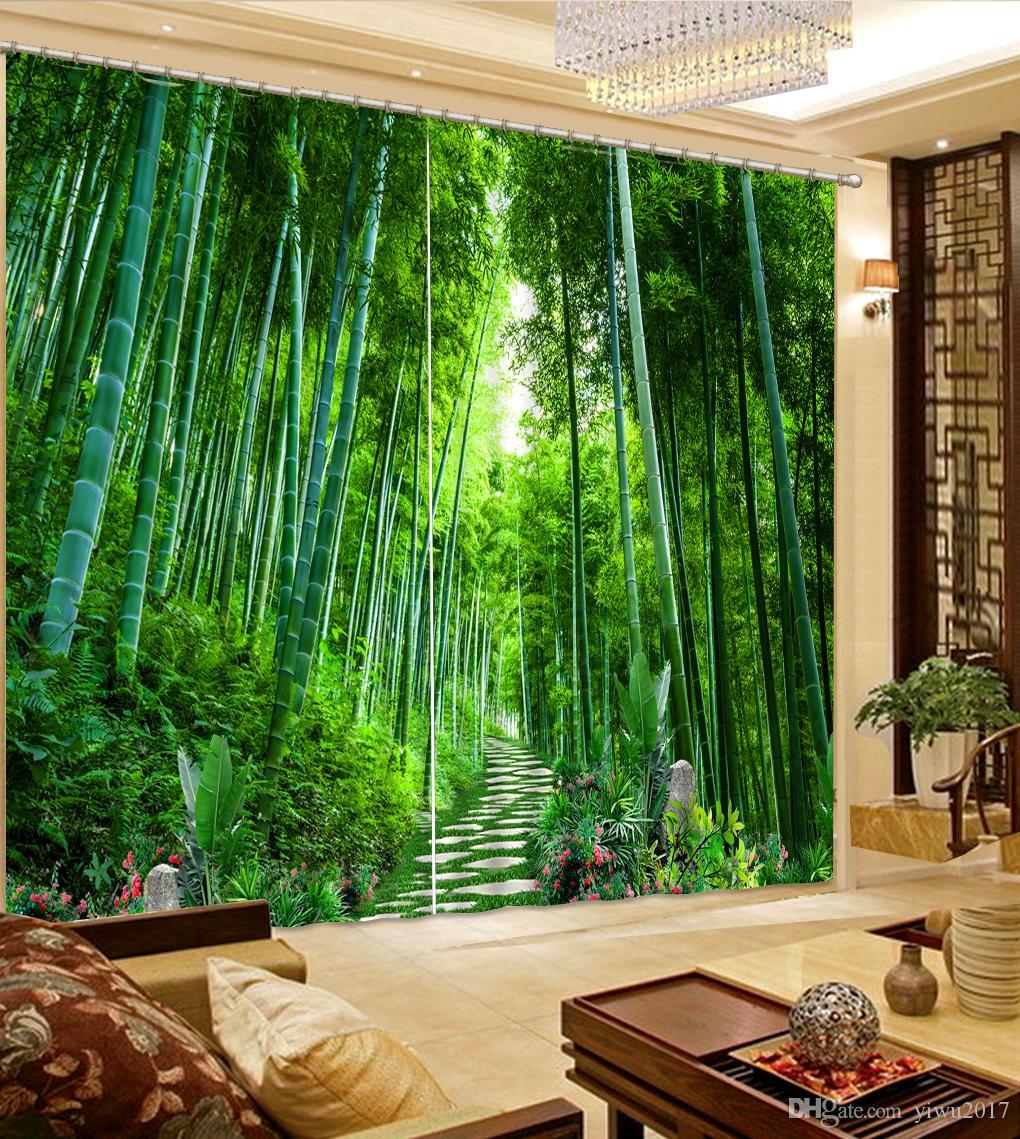 Photo Paysage de forêt de bambous Salle de séjour Rideau de fenêtre moderne pour chambre