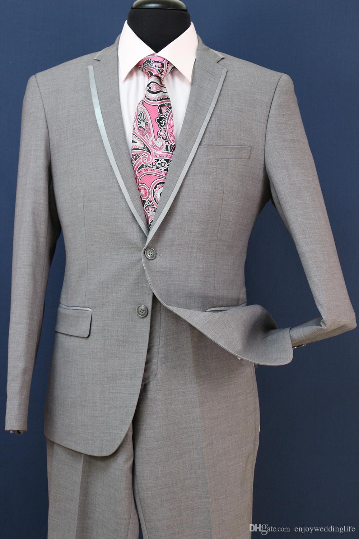 Slim Fit Groom Tuxedos Groomsmen Light Grey Side Vent Wedding Best Man Suit Men's Suits Jacket+Vest+Pants ST008