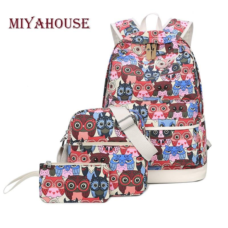 5cac7656e Miyahouse Owl Print School Backpacks For Teenage Girls Large Capacity Canvas  Travel Rucksack With Shoulder Bag Female Best Laptop Backpack Wheeled  Backpacks ...