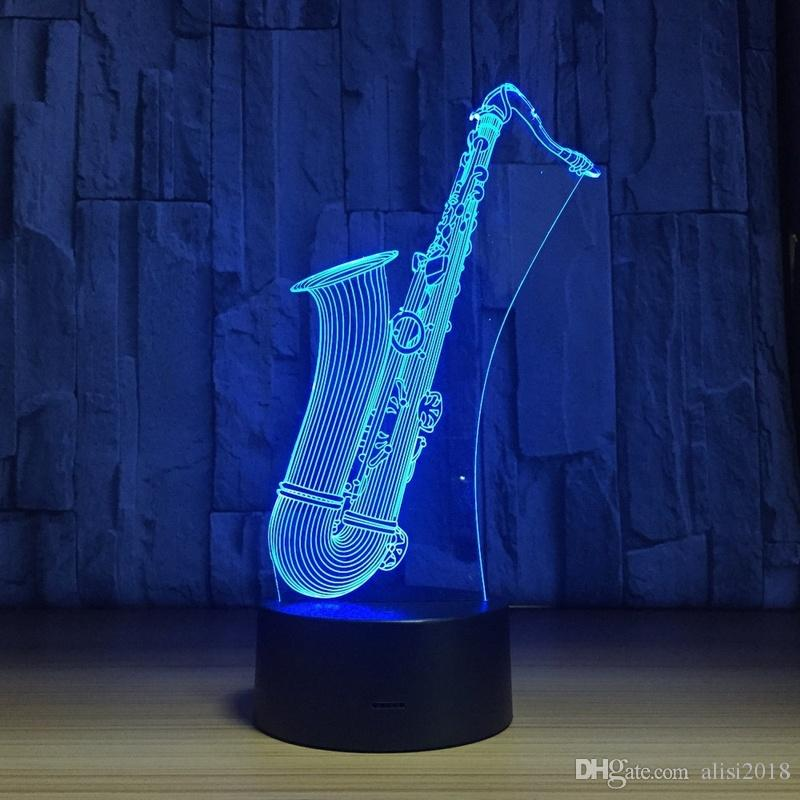 2018 New LED Night Light Saxophone USB 3D Lamp Touch Sensor 3D Bedroom Lights Atmosphere Decoration Gift