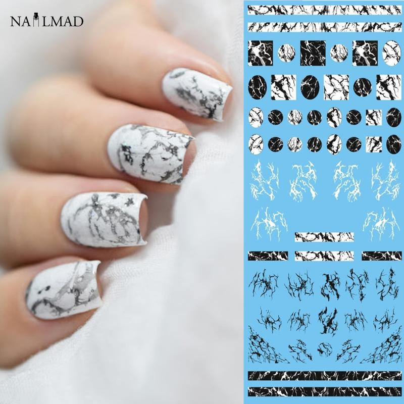 1 Sheet Nailmad Stone Marble Nail Water Decals Transfer Stickers White Art Tattoo Sticker Black Slide Fake Nails From Ruhui