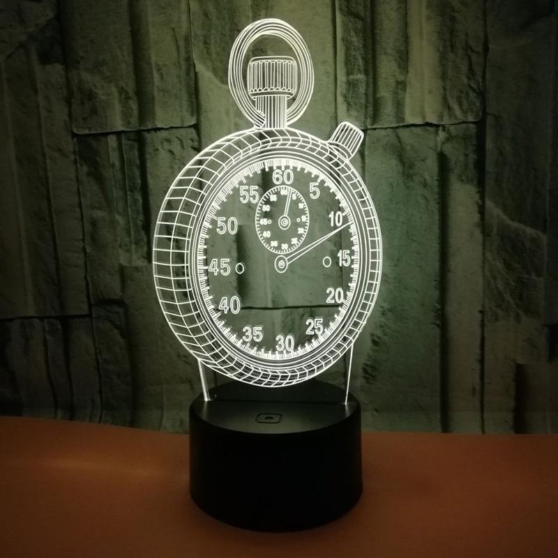 Reloj 3d Táctil Holograma Led Lámpara Del Forma Inicio Que Despertador De Noche Cambia La Dormitorio Ilusión Luz Interruptor Nvm8n0w