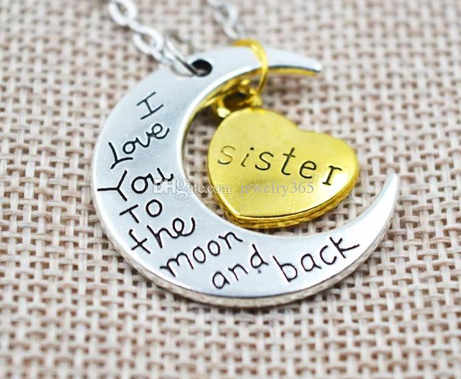 Antique silver family I LOVE YOU TO THE MOON AND BACK mom dad sister brother daughter son heart necklace