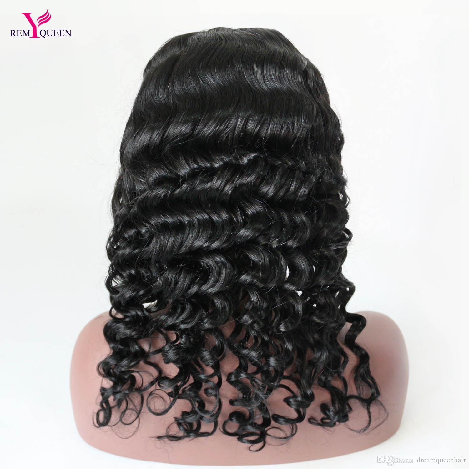 Remy Queen 1# Jet Black Deep Wave Lace Front Wig 100% Human Hair 130% Medium Density Pre Plucked With Baby Hair Bleached Knots
