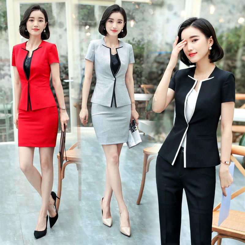 47907efed0630 2019 2018 Formal Ladies Summer Blazers Professional Uniform Designs  Pantsuits With Jackets And Pants For Women Female Trousers Sets From Masue,  ...