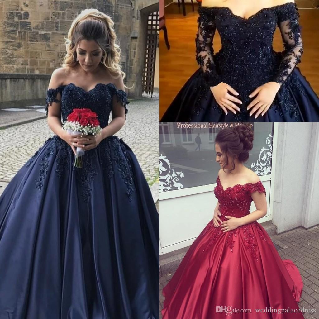 89c982ef002 2018 Navy Blue Dark Red Quinceanera Dresses Off Shoulder Long Sleeves Beaded  Crystals Ball Gown Prom Dresses Sweet 16 Dress Evening Gowns Black  Quinceanera ...