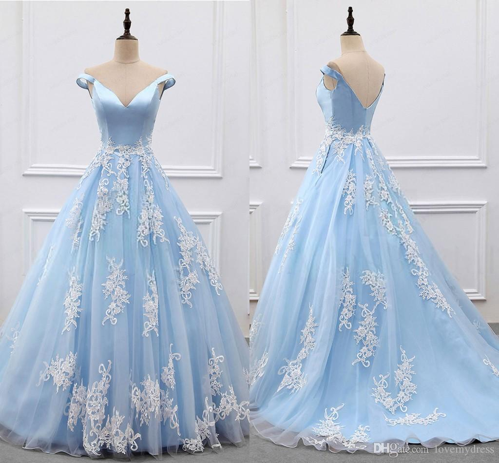 Actual Image Elegant Baby Blue With Ivory Lace Applique Dresses ...