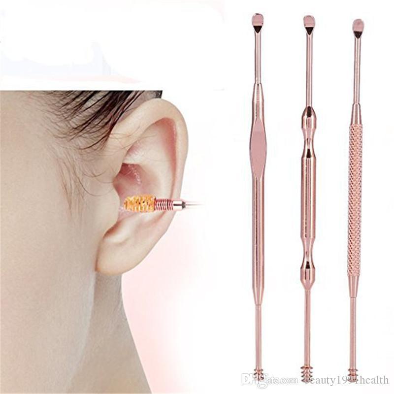 Nouveau Rose Gold Ear Care Supply Acier Inoxydable Oreille Pick Cire Nettoyant Earpick Curette Remover Enlèvement de cérumen Cleaner Outil / Set