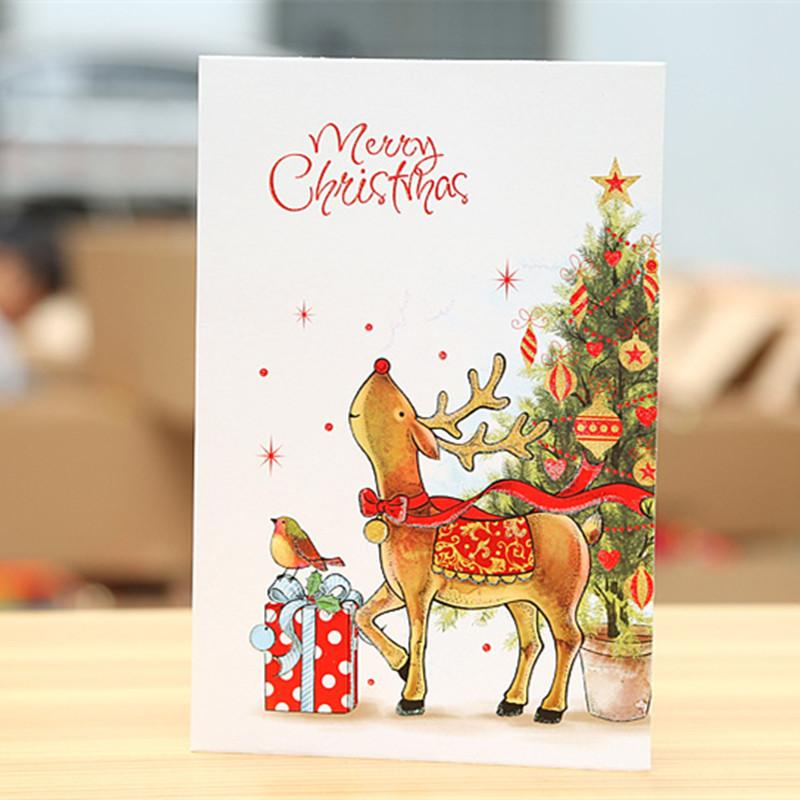 cartoon snowman reindeer postcard merry christmas greeting card gift