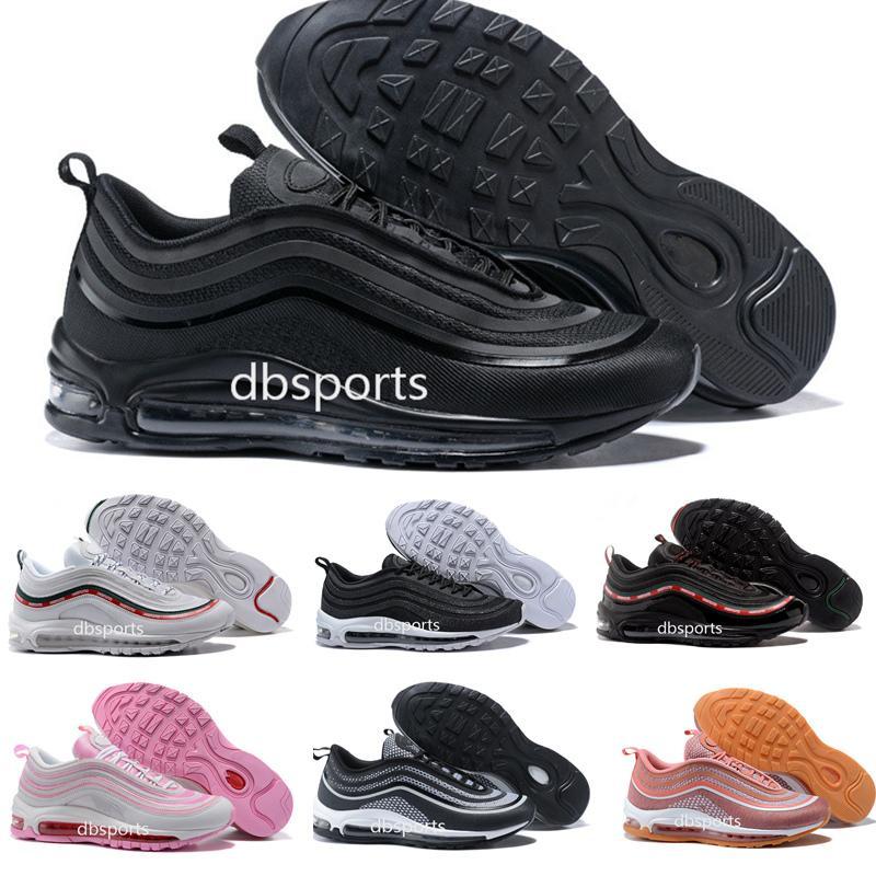 lowest price 04bb8 05a81 2018 Nike Air Max 97 Ultra Zapatillas De Deporte Para Hombre De Deportes  97s UL 17 OG Silver Bullet GS Air Cushion Trainers Maxes Plus Tamaño 36 45  Por ...