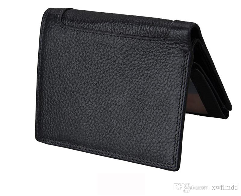 High-quality Male Genuine Leather luxury wallet Casual Short designer Card holder pocket Fashion Purse wallets for men