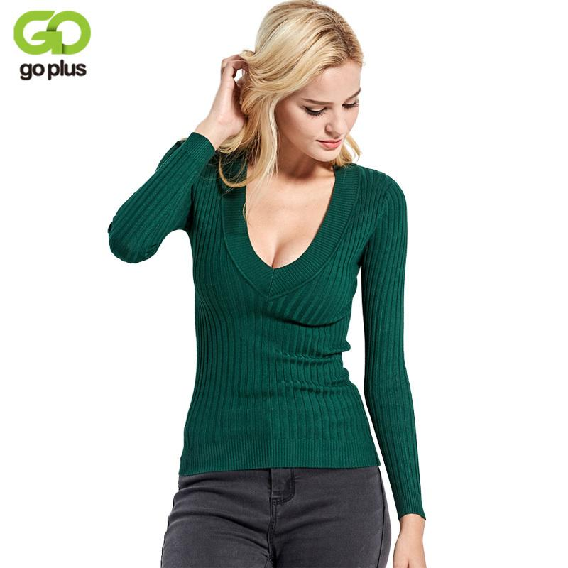 9ba24667b20 2019 2017 New Spring Deep V Forest Green Pullovers Woman Stretch Knitted  Sweater Women Elastic All Match Size Jumper Basic Tops C3554 From Ruiqi03