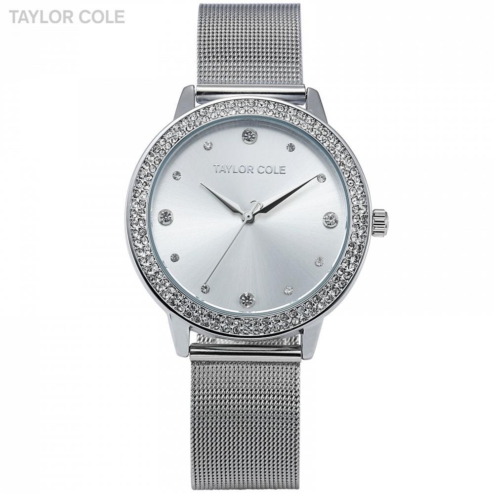 8924e4644db Compre Taylor Cole Marca De Moda Relógios Das Mulheres De Luxo Rodada De  Cristal De Prata Relógios De Pulso Das Senhoras Vestido Relógio De Quartzo  Cadeia ...