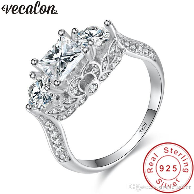 Vecalon Handmade Three-stone 925 Sterling Silver ring 5A Zircon Cz Engagement wedding Band rings for women Bridal Jewelry