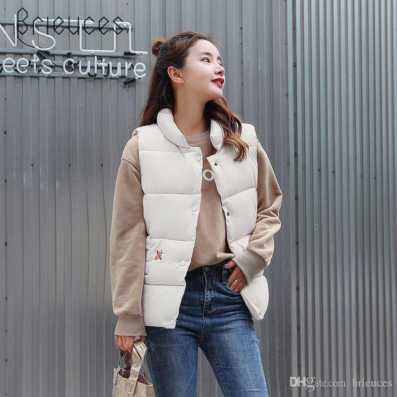 a5e05feaea8 Brieuces 2018 Short Autumn Winter Sleeveless Coat Women Fashion ...