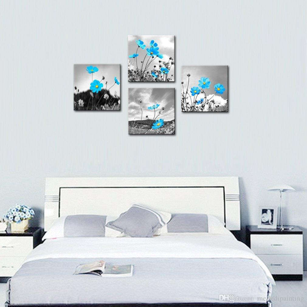 Wall Art Innovative Blue Black and White Background Chrysanthemum Flowers Picture Print on Canvas Landscape Stretched and Framed Home Decor