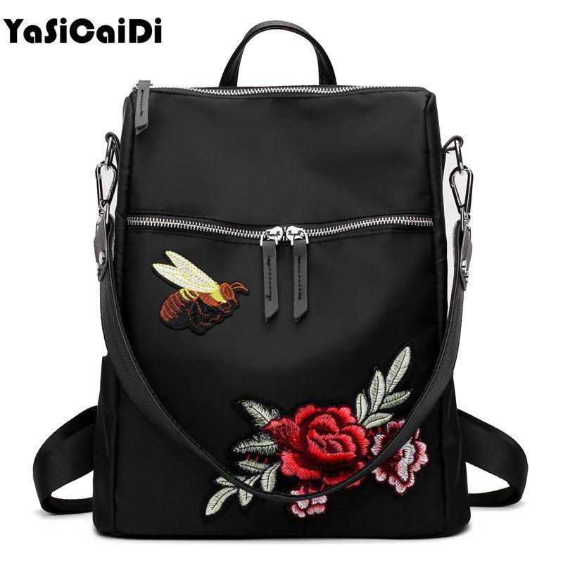 2019 FashionYASICAIDI Handmad Embroidery Flower Women Backpacks Leather  School Bag For Teenage Girls Black Nylon Floral Female Backpacks Sac Book  Bags ... ac5cd18a87c76
