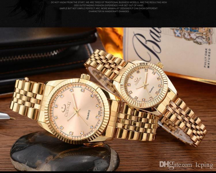 2018 Mode Top Célèbre Marque Homme montre en cuir véritable montre-bracelet Femmes Robe Montre À Quartz Horloge En Acier montre des amoureux avec Boîte