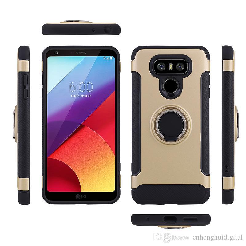 Für LG K10 2017 Aristo G6 Ring Autotelefonhalter Kickstand Fall Magnetische Handy-abdeckung Für LG V30 Samsung Hinweis 8 Mit OPPBAG