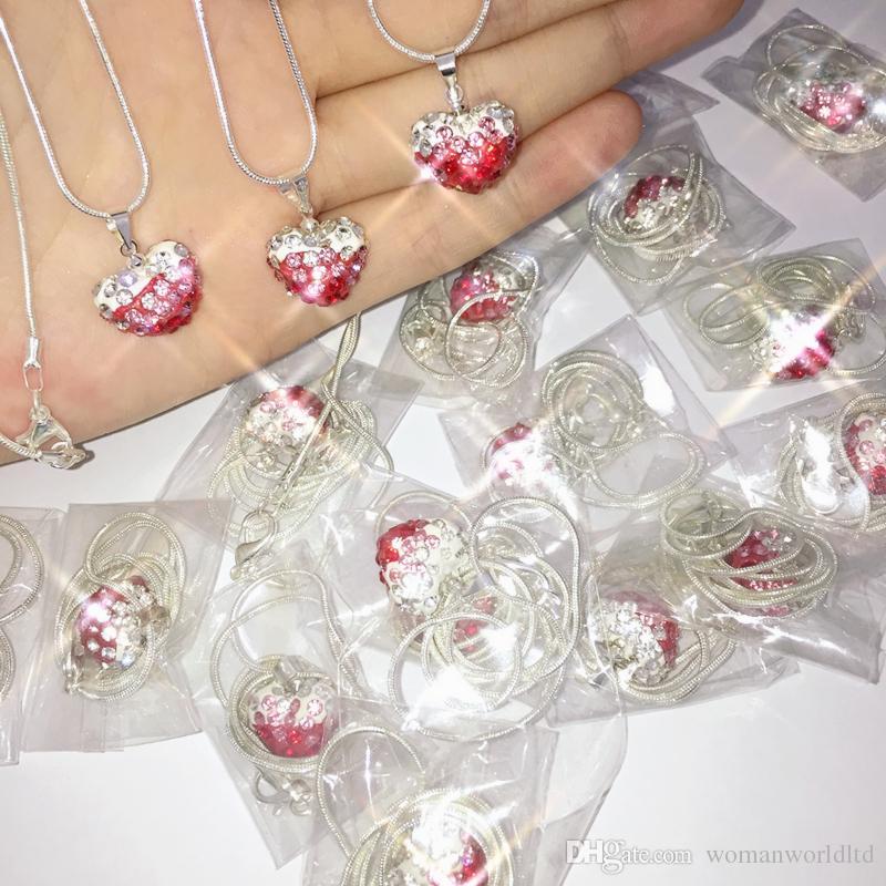 قلب كريستال shamballa قلادة فضية مطلي مجوهرات حجر الراين ديسكو التدرج كريستال الخرزة قلادة المرأة مجوهرات هدية عيد الميلاد هدية