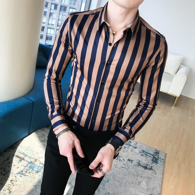 f4878e8d72 Compre Estilo Britânico Camisas Dos Homens De Manga Longa Casual Slim Fit  Homens Camisa Tendência Personalidade Listras Verticais Camisa Homens  Bonitos Para ...