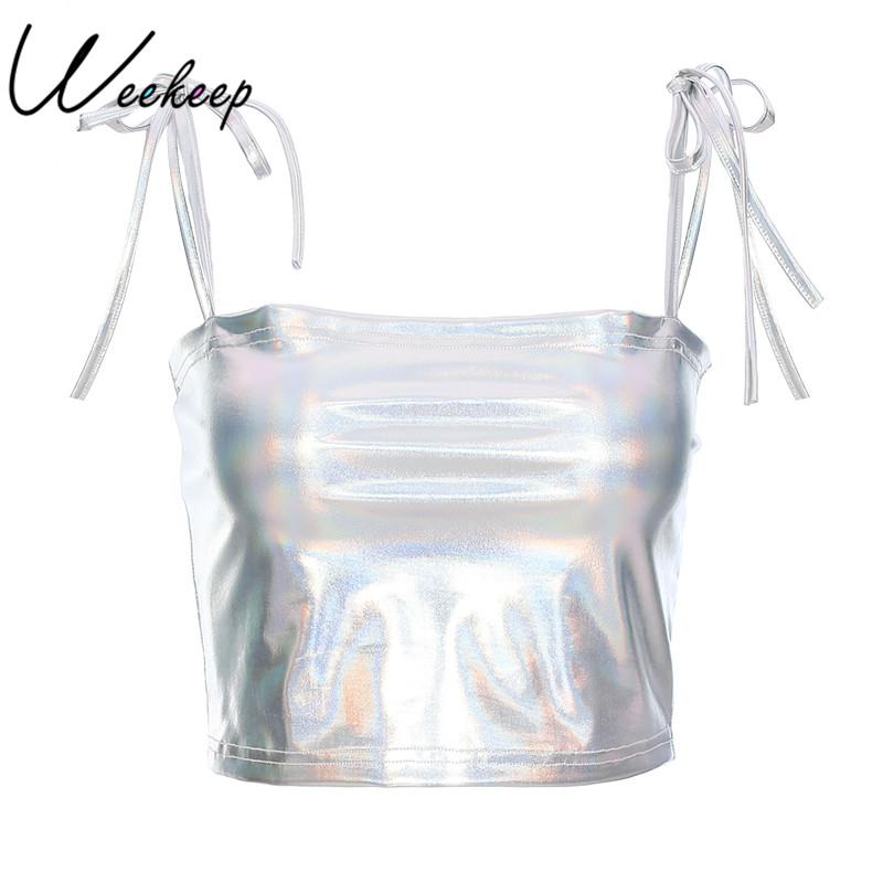 8e990c08db Weekeep Sexy Cropped PU Leather Camisole Women Backless Sleevess Bralee  Sequin Crop Top Summer Streetwear Boob Tube Top Camisole Women Crop Top  Summer ...