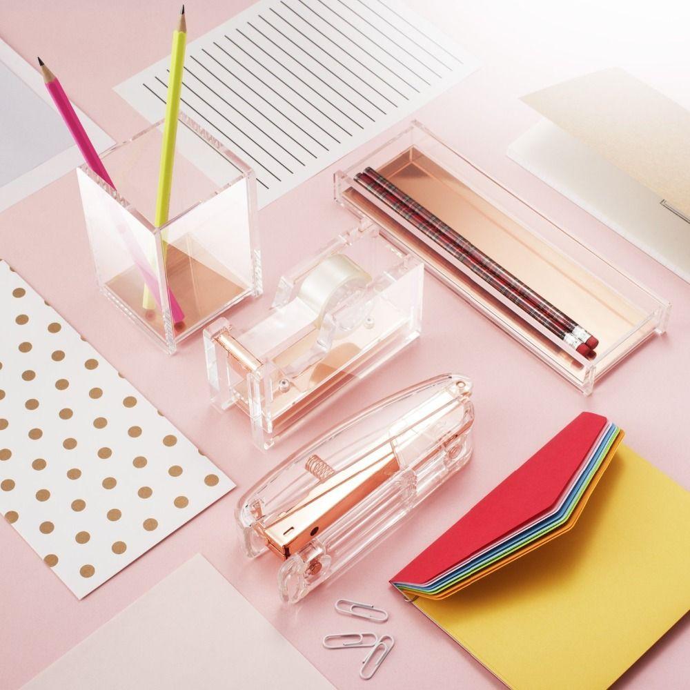 Pinzatrice in oro rosa Edizione in metallo Cucitrici manuali 24/6 26/6 Include 100 Accessori ufficio Accessori la scuola