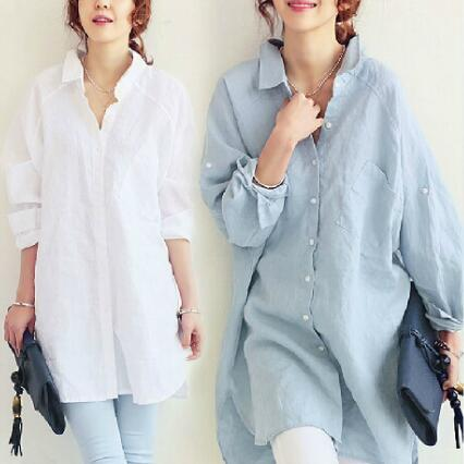 8e97a4f0c5e32d 2019 2018 Social Women Autumn Cotton And Linen White Elegant Blouse Full  Sleeve Kimono Long Shirts Blusas Ladies Tops From Sexystores520, $10.56 |  DHgate.