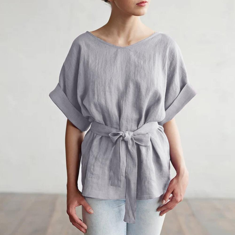 3d30f5f0ad5fae 2019 New Fashion Women Casual Kimono V Neck Cotton Linen Top With Tie Belt  Loose Tunic Casual T Shirt Crazy Tshirts Buy Tshirt From Your05, $29.97|  DHgate.