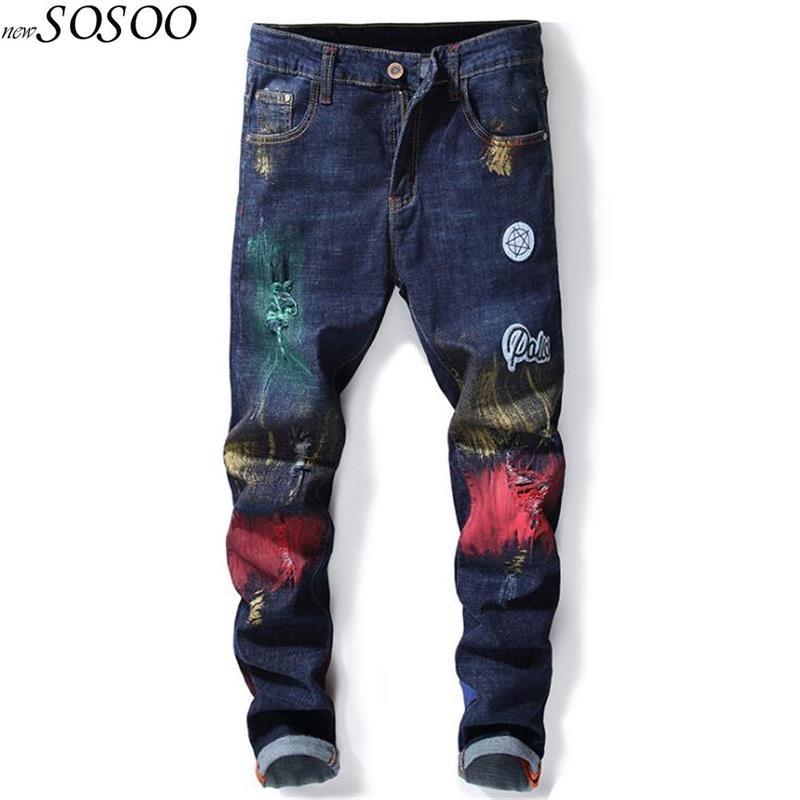 3790a5d3b0 Compre 2018 Nuevo Joven Verano Jeans Hombres Imprimer Último Estilo Denim  Pantalones De Pintura Productos Superventas Jeans Moda Hombres   1631 A   48.46 Del ...