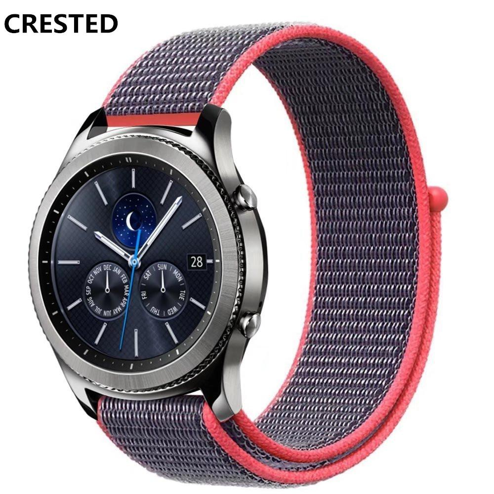 Crested Watch Band For Samsung Gear S3 Classic Frontier Strap Sport Silver Loop Woven Nylon Wrist Bands Bracelet Belt Huami Amazfit Sale Black