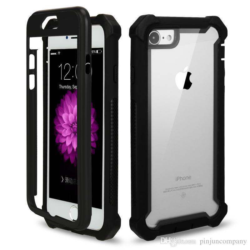 Para samsung galaxy s9 s9 além de armadura case 3 em 1 tpu + pc transparente limpar híbrido à prova de choque tampa traseira para iphone x phone case