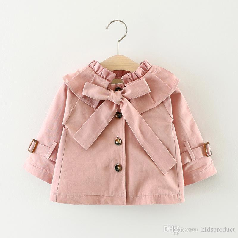 new Baby Girls Ruffles Bow Jackets Candy Pink Blue Color Sweet Children Fashion Outwears Western Princess Coats cute