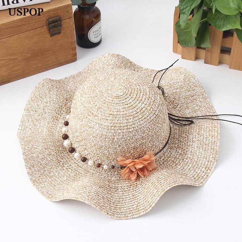 2018 Fashion Women Flower Sun Hats Hand Made Straw Wave Wide Brim Sun Hats  Casual Shade Hat Summer Parent Child Cute Beach Hat Mens Hat Sunhat From  Juemin 1dde87c70f81