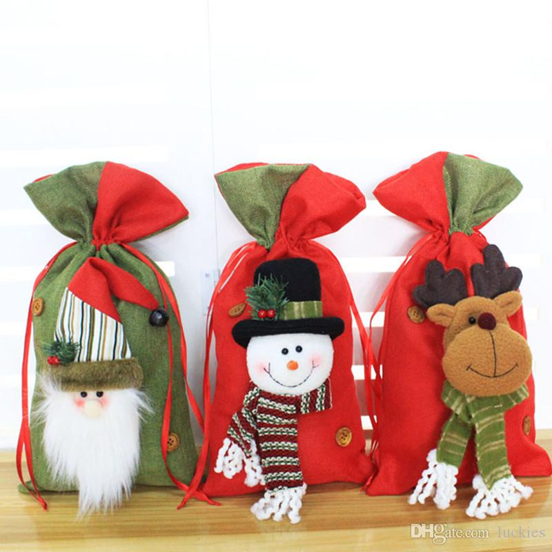 fbfcd715aa8d Christmas Gift Bag Pure Santa Claus Drawstring Sack Bags Christmas Wedding  Candy Bags red green Christmas Bag Packaging