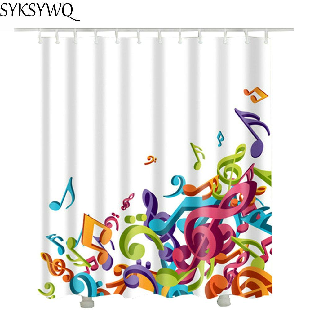 Music Note Shower Curtain White Fabric Polyester Waterproof Drop Shipping 2018 Hot Sale Brand For Bathroom Decor
