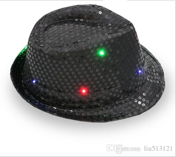 / LED Hip-Hop Jazz Hat Luminous Glowing Hat Flashing Light Up Led Fedora Trilby Sequin Unisex Fancy Dress Dance Party Hat