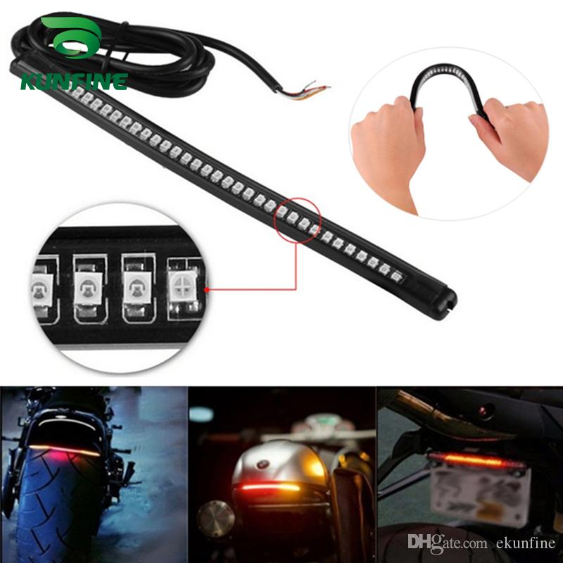 KUNFINE flowing water flicker led motorcycle 32 LED Turn Signal Light Tail  Brake Stop License Plate Lamp Rear Light