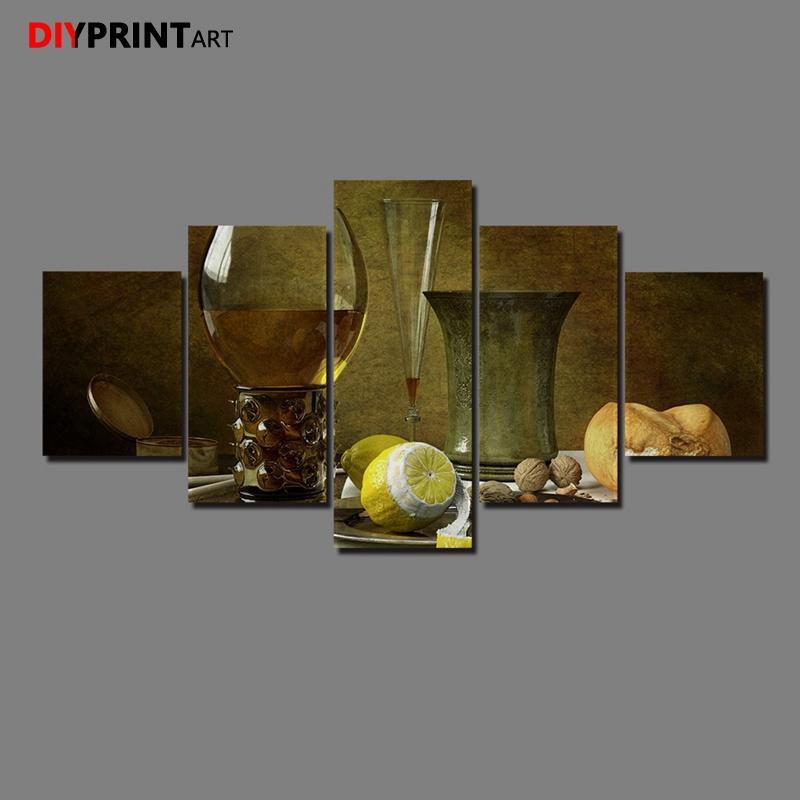Satın Al Sanatsal Içecek Gıda Limon Boyama Natürmort 5 Paneller