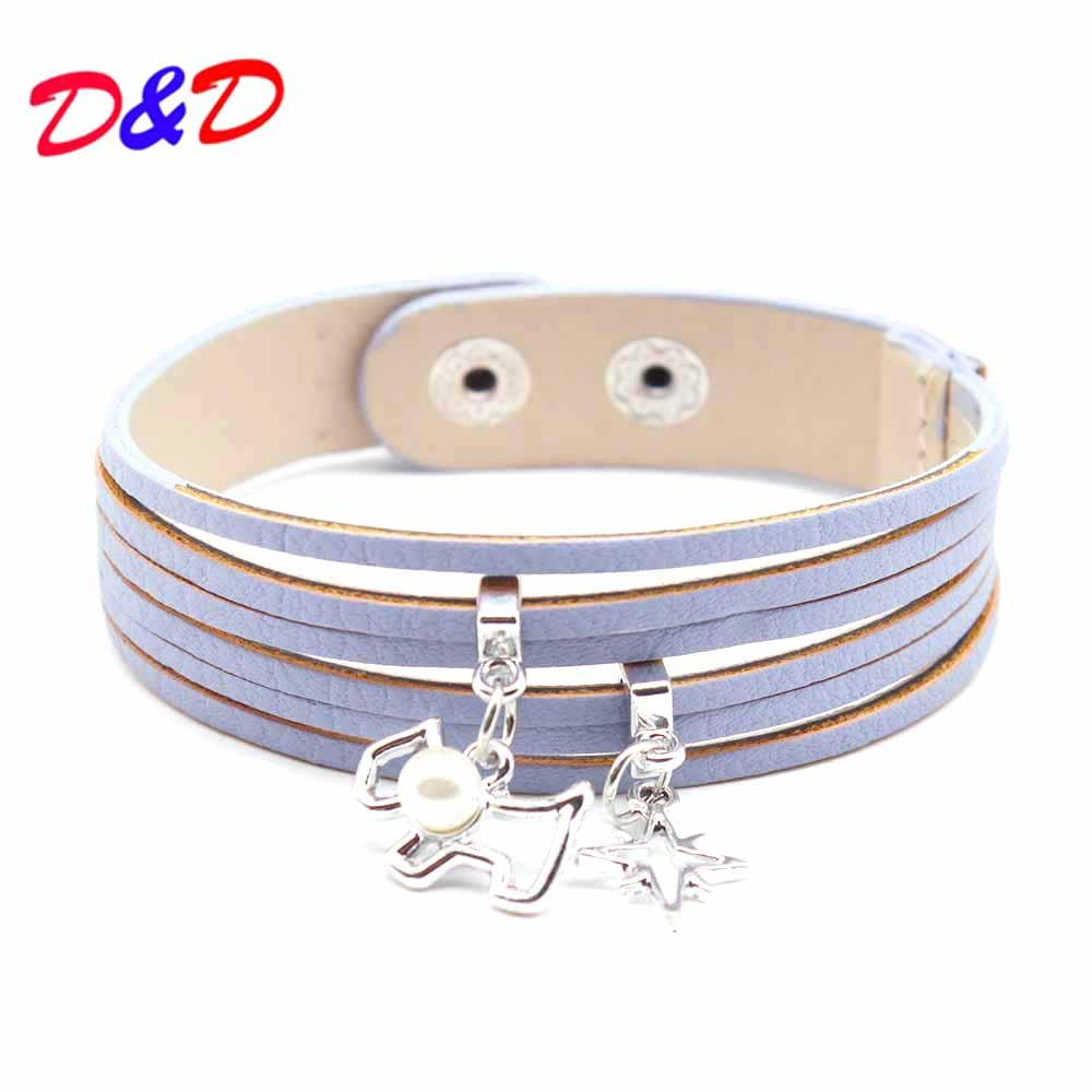 D&D Black/Beige Colors Multi Layers Leather Bracelet Women Handmade Charm Bangle Dog Pendant Wrist Bracelet